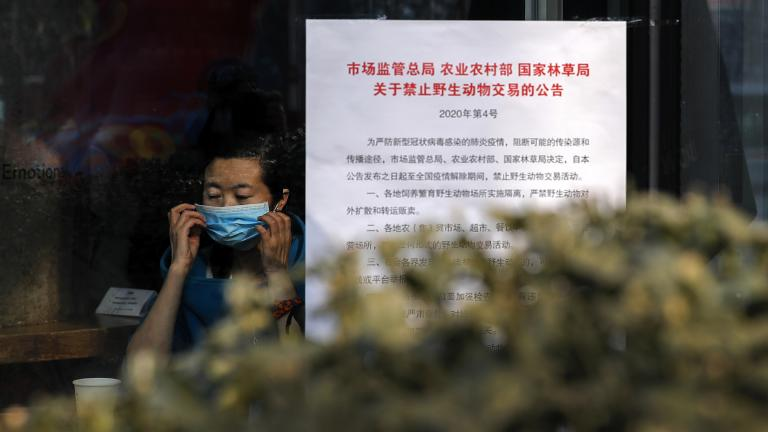 "A woman puts on a mask near a notice board that reads ""Bans on wild animals trading following the coronavirus outbreak"" at a cafe in Beijing, Monday, Feb. 10, 2020. (AP Photo / Andy Wong)"