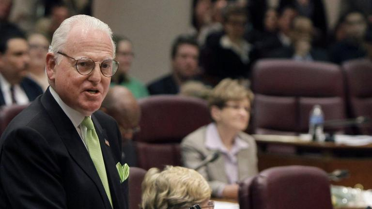 In this May 4, 2011 file photo, Chicago Ald. Ed Burke speaks at a City Council meeting. (AP Photo / M. Spencer Green, File)