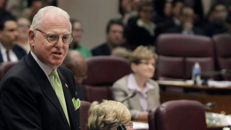 In this May 4, 2011 file photo, Ald. Ed Burke speaks at a Chicago City Council meeting. (AP Photo / M. Spencer Green, File)