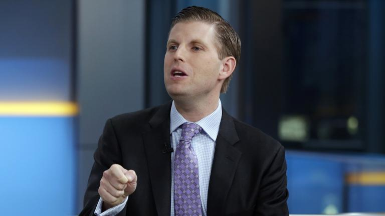 """In this Jan. 17, 2018 file photo, Eric Trump appears on the """"Fox & Friends"""" television program, in New York. (AP Photo / Richard Drew, File)"""