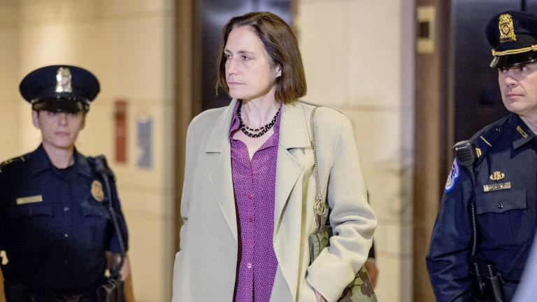 In this Nov. 4, 2019, file photo, former White House adviser on Russia, Fiona Hill arrives for a closed door meeting as part of the House impeachment inquiry into President Donald Trump on Capitol Hill in Washington. (AP Photo / Andrew Harnik, File)