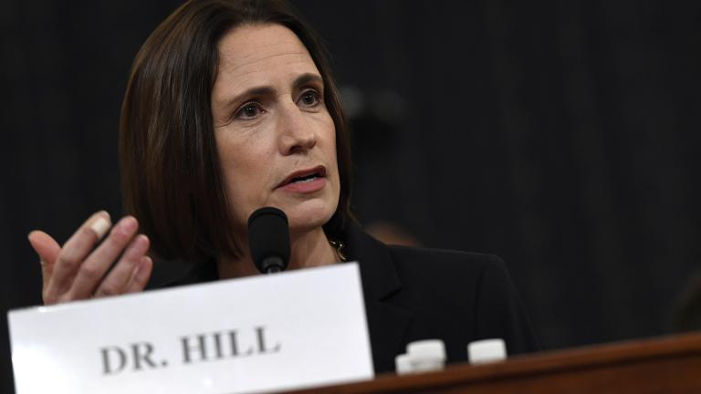 Former White House national security aide Fiona Hill testifies before the House Intelligence Committee on Capitol Hill in Washington, Thursday, Nov. 21, 2019, during a public impeachment hearing of President Donald Trump's efforts to tie U.S. aid for Ukraine to investigations of his political opponents. (AP Photo / Susan Walsh)