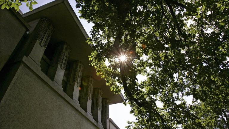 This Sept. 27, 2005, file photo, shows an exterior view of Frank Lloyd Wright's Unity Temple with its incredibly bold cubic design in Oak Park, Illinois. (AP Photo / Charles Rex Arbogast, File)
