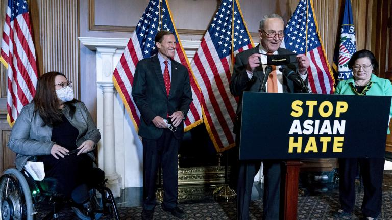 Senate Majority Leader Chuck Schumer of N.Y., accompanied by Sen. Mazie Hirono, D-Hawaii, Sen. Tammy Duckworth, D-Ill., and Sen. Richard Blumenthal, D-Conn., speaks at a news conference after the Senate passed a COVID-19 Hate Crimes Act on Capitol Hill, Thursday, April 22, 2021, in Washington. (AP Photo / Andrew Harnik)