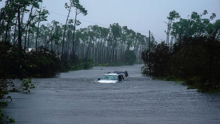 Cars sit submerged in water from Hurricane Dorian in Freeport, Bahamas on Tuesday, Sept. 3, 2019. (AP Photo / Ramon Espinosa)