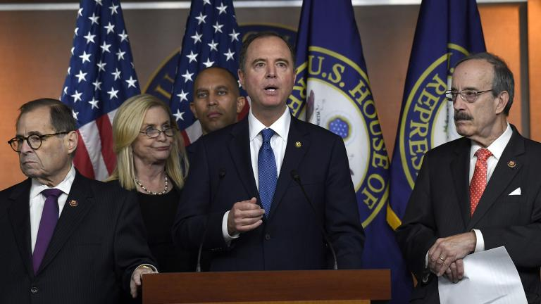 House Intelligence Committee Chairman Adam Schiff, D-Calif., second from right, speaks during a news conference on Capitol Hill in Washington, Thursday, Oct. 31, 2019. Schiff is joined by, from left, House Judiciary Committee Chairman Jerrold Nadler, D-N.Y., House Oversight and Government Reform Committee acting chair Carolyn Maloney, D-N.Y., House Democratic Caucus Chairman Hakeem Jeffries, D-N.Y., and House Foreign Affairs Committee Chairman Eliot Engel, D-N.Y. (AP Photo / Susan Walsh)