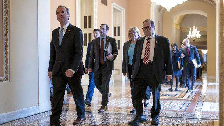 House Democratic impeachment managers, from left, House Intelligence Committee Chairman Adam Schiff, D-Calif., Rep. Jason Crow, D-Colo., Rep. Zoe Lofgren, D-Calif., and House Judiciary Committee Chairman Jerrold Nadler, D-N.Y., arrive for the start of the third day of the impeachment trial of President Donald Trump at the Capitol in Washington, Thursday, Jan. 23, 2020. (AP Photo / J. Scott Applewhite)