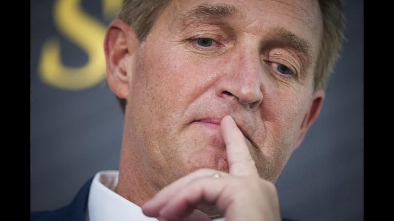 "In this Oct. 2, 2018 file photo, Sen. Jeff Flake, R-Ariz. participates in an interview at The Atlantic's ""The Constitution in Crisis"" forum in Washington. (AP Photo / Cliff Owen, File)"