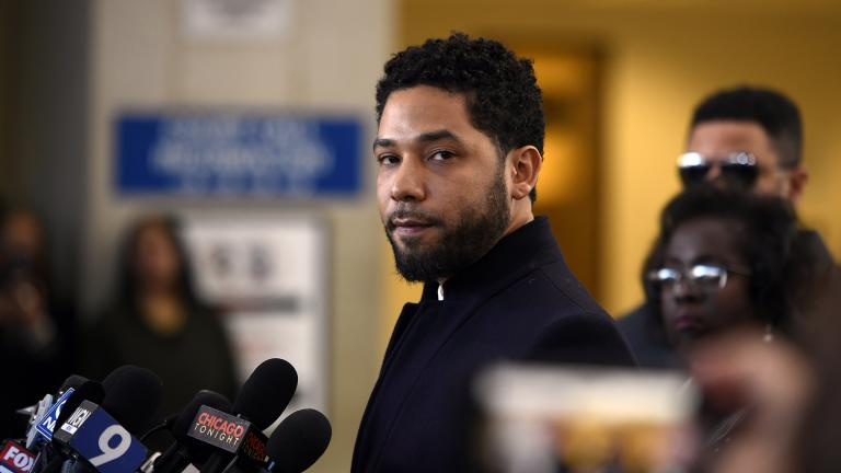 Actor Jussie Smollett talks to the media before leaving Cook County Court after his charges were dropped, Tuesday, March 26, 2019. (AP Photo / Paul Beaty)