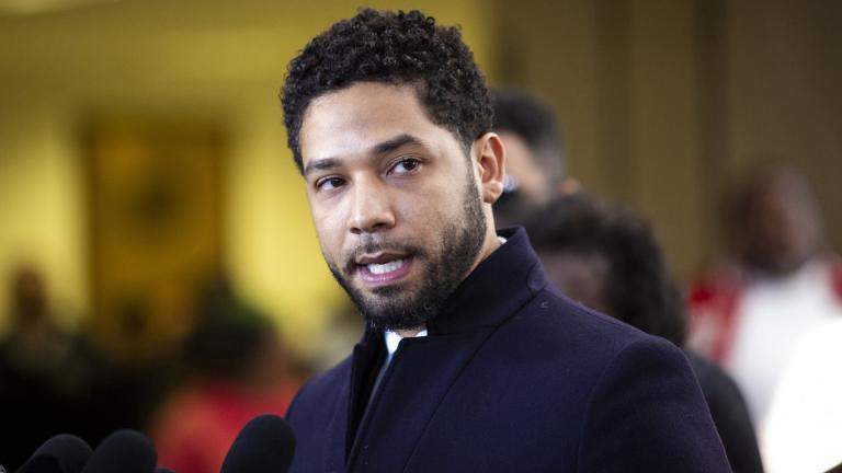 Actor Jussie Smollett leaves the Leighton Criminal Courthouse in Chicago on Tuesday March 26, 2019, after prosecutors dropped all charges against him. (Ashlee Rezin / Chicago Sun-Times via AP)
