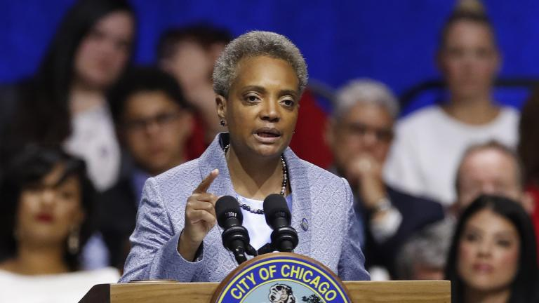 Chicago Mayor Lori Lightfoot speaks during her inauguration ceremony at Wintrust Arena on Monday, May 20, 2019. (AP Photo / Jim Young)