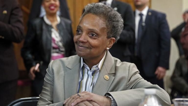 Chicago Mayor-elect Lori Lightfoot smiles during a press conference at the Rainbow PUSH organization on Wednesday, April 3, 2019. (AP Photo / Nuccio DiNuzzo)