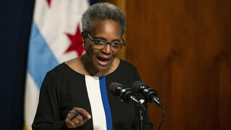 Chicago Mayor Lori Lightfoot holds a press conference Friday, May 31, 2019 at City Hall to address the federal indictment filed against Ald. Ed Burke and demand he resign immediately. (Ashlee Rezin / Chicago Sun-Times via AP)