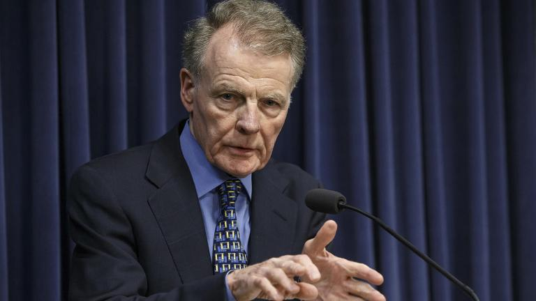 In this July 26, 2017 file photo, Illinois House Speaker Michael Madigan speaks at a news conference at the state capitol in Springfield, Illinois. (Justin Fowler / The State Journal-Register via AP, File)