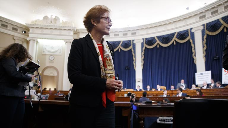Former U.S. Ambassador to Ukraine Marie Yovanovitch gets up during a break in testimony before the House Intelligence Committee, Friday, Nov. 15, 2019, on Capitol Hill in Washington. (AP Photo / Jacquelyn Martin)