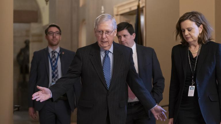 Senate Majority Leader Mitch McConnell, R-Ky., arrives for a closed meeting with fellow Republicans as he strategizes about the looming impeachment trial of President Donald Trump, at the Capitol in Washington, Tuesday, Jan. 7, 2020. (AP Photo / J. Scott Applewhite)