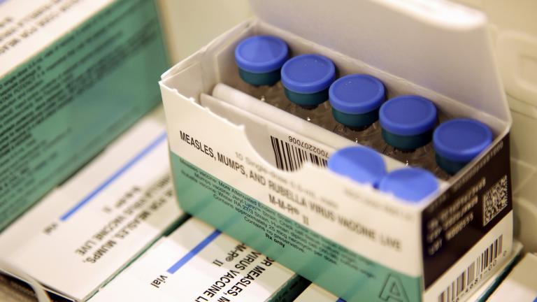 In this March 27, 2019, file photo, measles, mumps and rubella vaccines sit in a cooler at the Rockland County Health Department in Pomona, N.Y. (AP Photo / Seth Wenig, File)