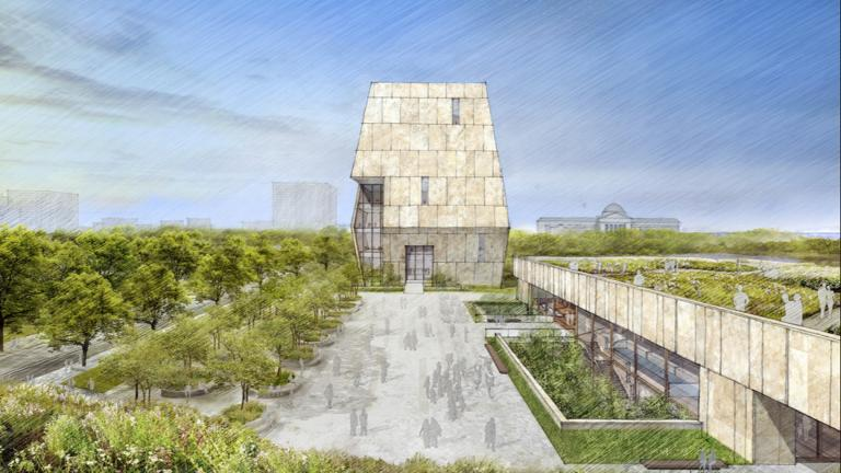 This illustration released on May 3, 2017 by the Obama Foundation shows plans for the proposed Obama Presidential Center with a museum, rear, in Jackson Park on Chicago's South Side. (Obama Foundation via AP, File)