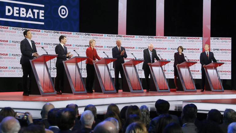 Democratic presidential candidates from left, entrepreneur Andrew Yang, South Bend Mayor Pete Buttigieg, Sen. Elizabeth Warren, D-Mass., former Vice President Joe Biden, Sen. Bernie Sanders, I-Vt., Sen. Amy Klobuchar, D-Minn., and businessman Tom Steyer participate in a Democratic presidential primary debate Thursday, Dec. 19, 2019, in Los Angeles. (AP Photo / Chris Carlson)