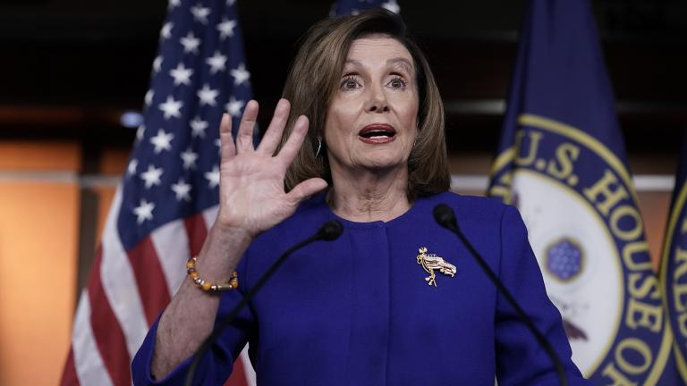 Speaker of the House Nancy Pelosi, D-Calif., meets with reporters following escalation of tensions this week between the U.S. and Iran, Thursday, Jan. 9, 2020, on Capitol Hill in Washington. (AP Photo / J. Scott Applewhite)