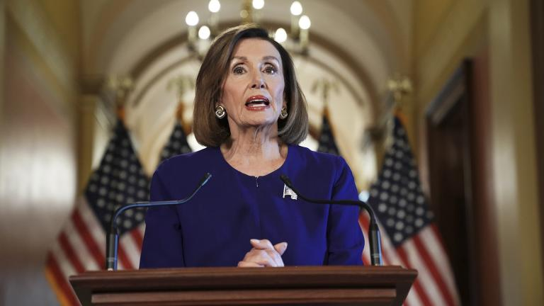 House Speaker Nancy Pelosi, D-Calif., reads a statement announcing a formal impeachment inquiry into President Donald Trump on Capitol Hill in Washington, Tuesday, Sept. 24, 2019. (AP Photo / Andrew Harnik)