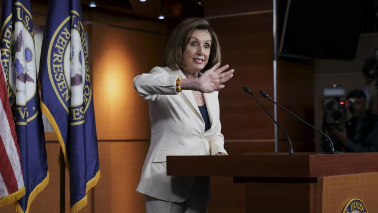 Speaker of the House Nancy Pelosi, D-Calif., responds forcefully to a question from a reporter who asked if she hated President Trump, after announcing earlier that the House is moving forward to draft articles of impeachment against Trump, at the Capitol in Washington, Thursday, Dec. 5, 2019. (AP Photo / J. Scott Applewhite)