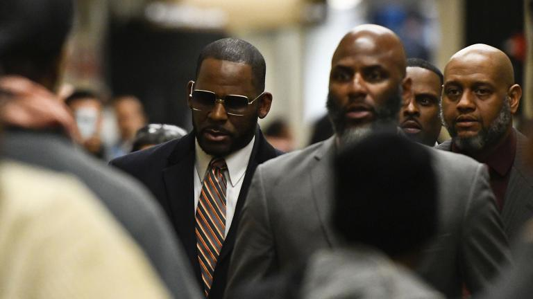 Musician R. Kelly arrives at the Daley Center for a hearing in his child support case on Wednesday, May 8, 2019. (AP Photo / Matt Marton)