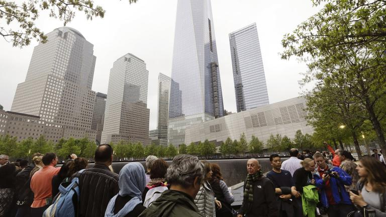 In this May 15, 2015 file photo, visitors gather near the pools at the 9/11 Memorial in New York. As they have done 17 times before, a crowd of victims' relatives is expected at the site on Wednesday, Sept. 11, 2019 to observe the anniversary the deadliest terror attack on American soil. (AP Photo / Frank Franklin II)