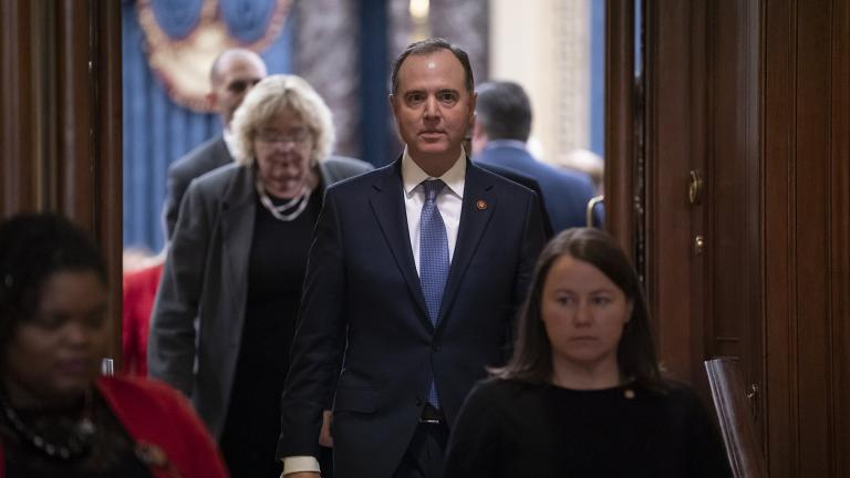 House Democratic impeachment manager, Intelligence Committee Chairman Adam Schiff, D-Calif., leaves the Senate chamber after the acquittal of President Donald Trump on charges of abuse of power and obstruction of Congress, at the Capitol in Washington, Wednesday, Feb. 5, 2020. (AP Photo / J. Scott Applewhite)