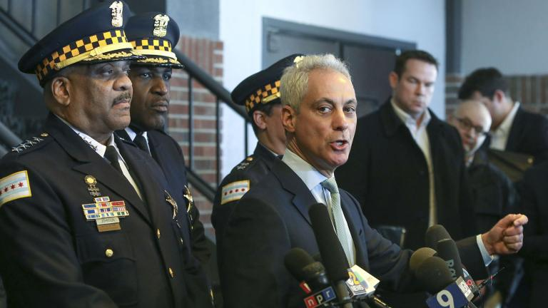 "Chicago Mayor Rahm Emanuel, right, and Chicago Police Superintendent Eddie Johnson appear at a news conference Tuesday, March 26, 2019, after prosecutors abruptly dropped all charges against ""Empire"" actor Jussie Smollett. (AP Photo / Teresa Crawford)"