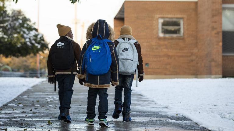 Students return to class on Friday Nov. 1, 2019 at Roswell B. Mason Elementary School on the South Side after a Chicago Teachers Union strike closed schools for 11 days. (Ashlee Rezin Garcia / Chicago Sun-Times via AP)