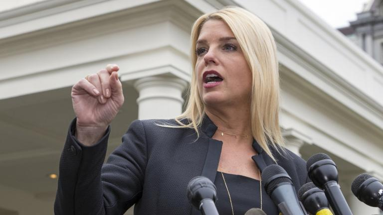 In this Feb. 22, 2018 file photo, Florida Attorney General Pam Bondi speaks to reporters outside the West Wing in Washington. (AP Photo / J. Scott Applewhite)