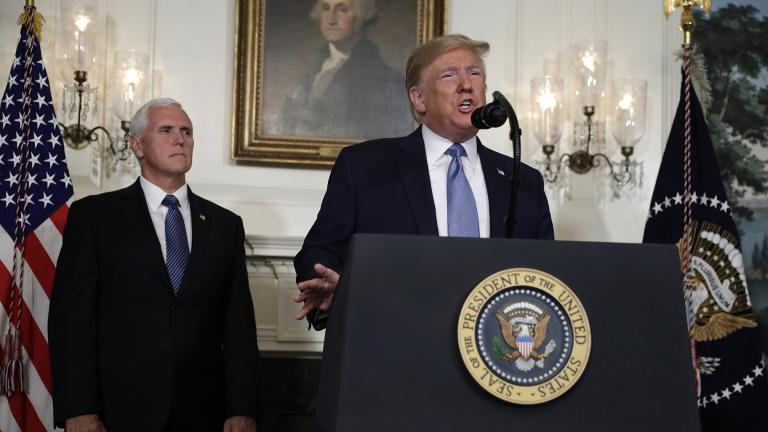 President Donald Trump speaks about the mass shootings in El Paso, Texas, and Dayton, Ohio, in the Diplomatic Reception Room of the White House on Monday, Aug. 5, 2019, in Washington. (AP Photo / Evan Vucci)