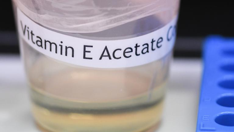 This Monday, Nov. 4, 2019 photo shows a vitamin E acetate sample during a tour of the Medical Marijuana Laboratory of Organic and Analytical Chemistry at the Wadsworth Center in Albany, N.Y. (AP Photo / Hans Pennink)