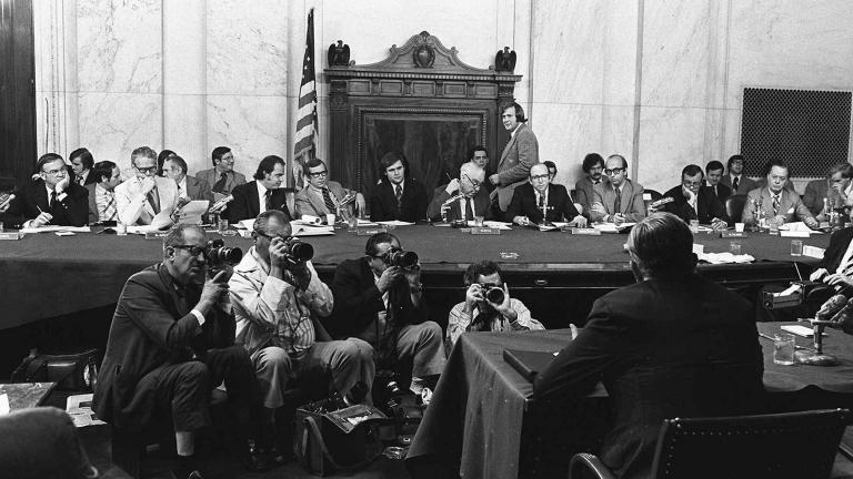 In this Aug. 3, 1973, file photo, the Senate Watergate Committee hearings continue on Capitol Hill in Washington. (AP Photo / File)