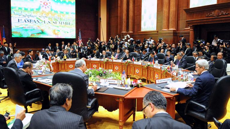 Former U.S. Secretary of State John Kerry addresses the Association of Southeast Asian Nations, or ASEAN, during a U.S.-ASEAN Summit held in Brunei on Oct. 9, 2013. (U.S. Department of State)