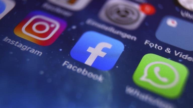 The icons of Instagram, Facebook and WhatsApp can be seen on the screen of a smartphone in Kempten, Germany, Monday, Oct. 4, 2021. (Karl-Josef Hildenbrand/dpa via AP)