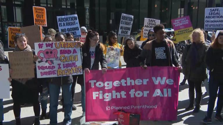 Abortion rights activists rally in Chicago on Wednesday, March 4, 2020. (WTTW News)