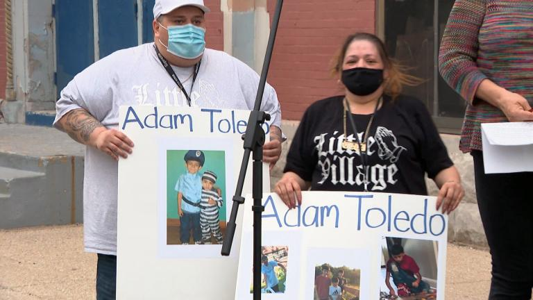 A vigil for Adam Toledo, the 13-year-old boy fatally shot by police on March 29, takes place in Little Village on Monday, April 5. (WTTW News)