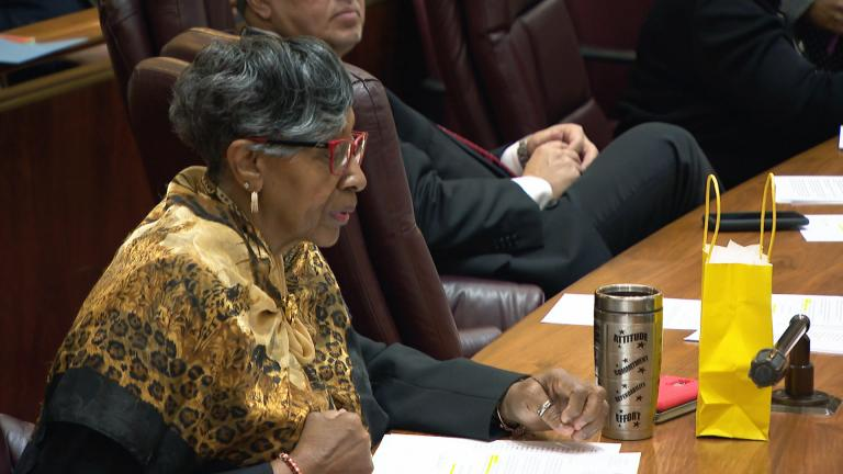 A file photo shows 34th Ward Ald. Carrie Austin at a Chicago City Council meeting. (WTTW News)