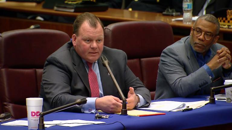 A file photo shows Ald. Patrick Daley Thompson (11th Ward) at a Chicago City Council hearing on April 12, 2016. (WTTW News)
