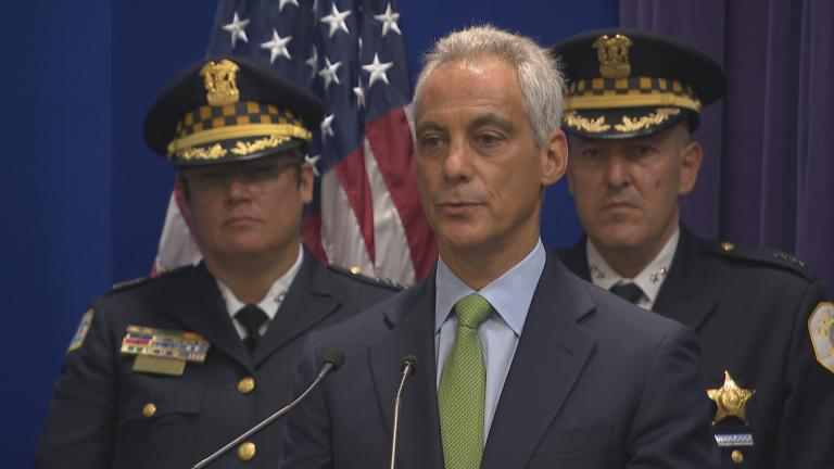 Mayor Rahm Emanuel speaks Tuesday, July 17, 2018 about the fatal police-involved shooting of 37-year-old Harith Augusts. (Chicago Tonight)
