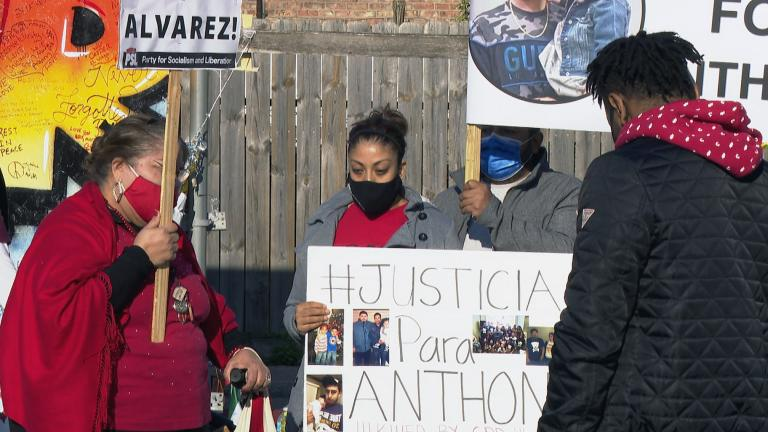 Community leaders and family members of victims killed by police and gun violence gather April 29, 2021. (WTTW News)