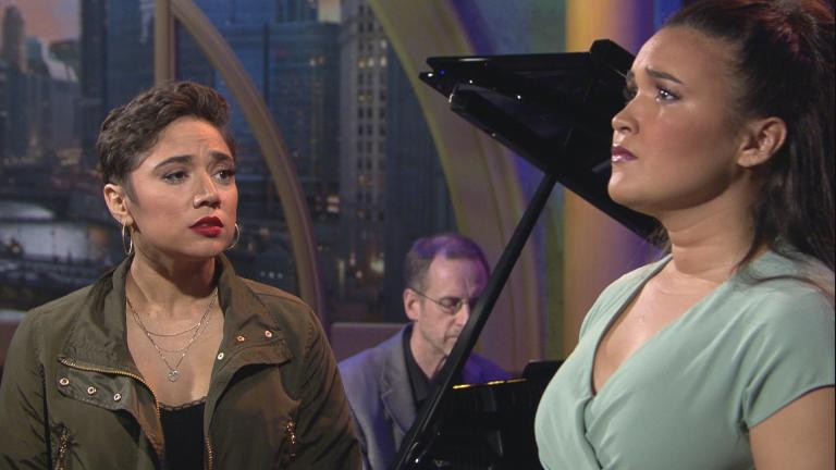 "Amanda Castro, left, and Mikaela Bennett appear on ""Chicago Tonight"" on Wednesday, May 8, 2019."