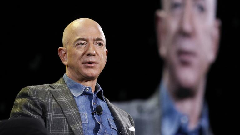 In this June 6, 2019, file photo, Amazon CEO Jeff Bezos speaks at the Amazon re:MARS convention in Las Vegas. (AP Photo / John Locher, File)
