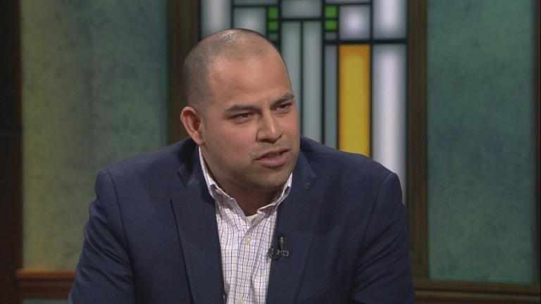 "Aldermanic candidate Andre Vasquez appears on ""Chicago Tonight"" on April 3, 2019."