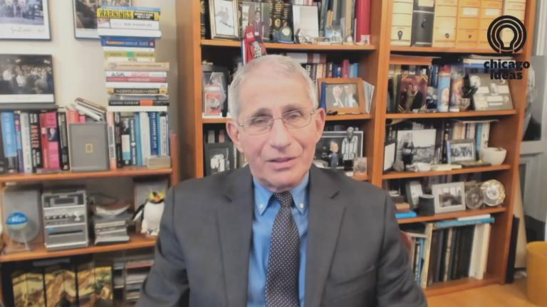 Dr. Anthony Fauci, director of the National Institute of Allergy and Infectious Diseases, talks Wednesday, Oct, 29, 2020 about the coronavirus pandemic with Brandis Friedman as part of Chicago Ideas Week. (WTTW News via Chicago Ideas Week)