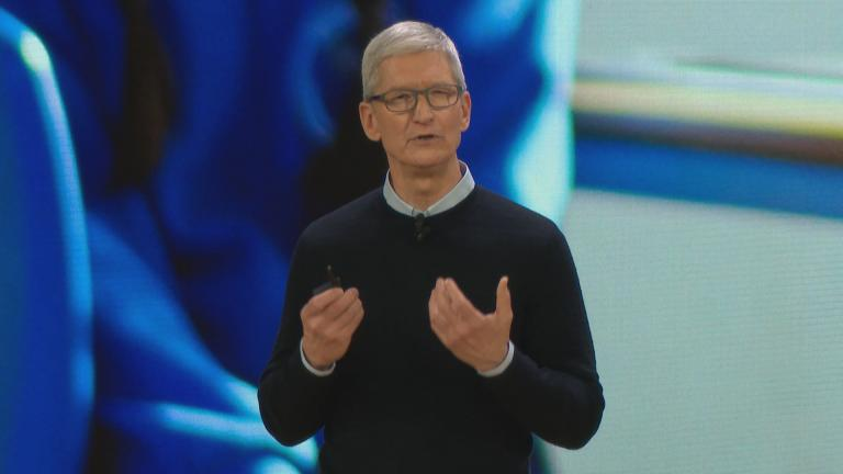 Apple CEO Tim Cook speaks Tuesday, March 27, 2018 at Chicago's Lane Tech High School.