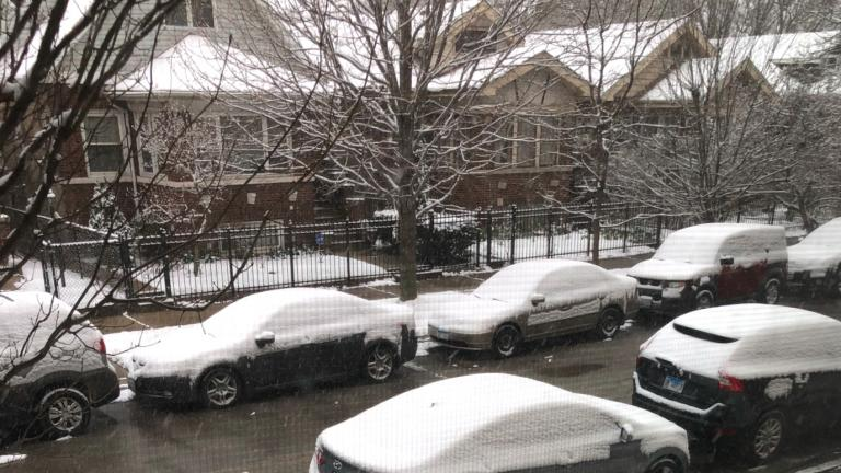 Chicagoans woke up to a covering of snow Wednesday. (Patty Wetli / WTTW)