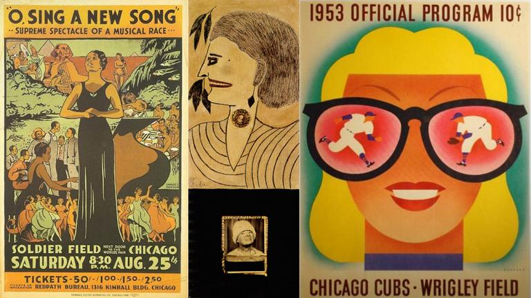 From left: Works by Charles Dawson, Lee Godie, and Dorothy and Otis Shepard.(Courtesy of the Terra Foundation for American Art)